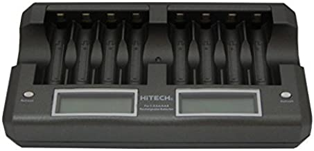Hitech iC-808UL-LCD 8 Bank Smart Quick Charger/Discharger with LCD Display for AA, AAA Batteries