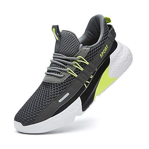 IRON JF Hombres Trail Zapatillas Deportivas Pista de Atletismo Campo Sprint Cruz Entrenadores Zapatos for Caminar los Zapatos de Viaje Senderismo Atlética de Malla Gimnasio Pista Zapatillas Deporte