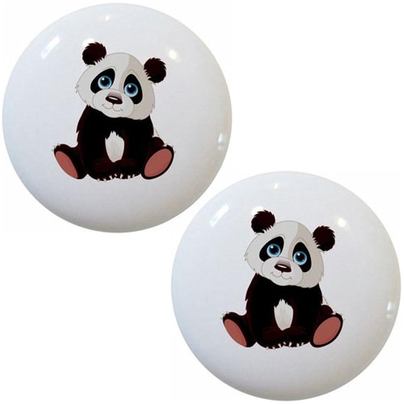 Set of 2 Baby Panda Bear Ceramic Cabinet Drawer Pull Knobs