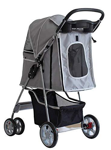 Saving Plus Pet Travel Stroller Dog Cat Pushchair Pram Jogger Buggy Trolley Puppy Jogger Folding Carrier With 4 Wheels (Grey) 3