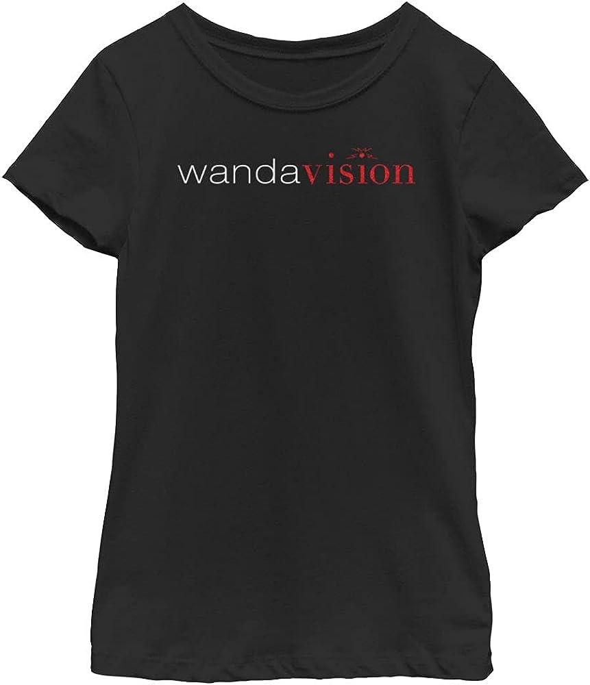 Marvel Film Modern Wandavision Logo Girl's Solid Crew Tee