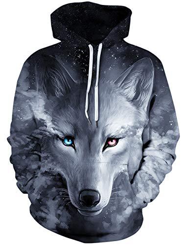 Loveternal 3D Hoodies Galaxy Wolf Druck Kapuzenpullover Langarm Tops Leichte Sweatshirts Mit Taschen M