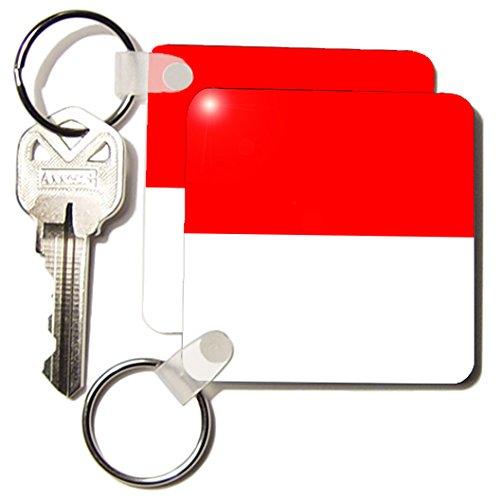 3drose Monaco vlag - sleutel ketting, 5,7 x 11,4 cm, set 2 stuks (KC 28268 1)