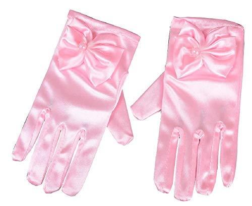 Inception Pro Infinite - Guantes de dama de nia elsticos - satn - laminados - lazo - perla - cortos - Ideal como regalo de Navidad y cumpleaos - Disfraz - rosa