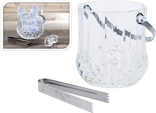 DKB Glas Eiskühler Weinkühler Kristall Effekt mit Zange Sektkühler Eiswürfel