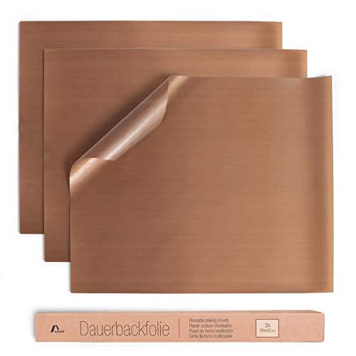 Amazy Dauerbackfolie (3er Set) – Das Premium Backpapier – Wiederverwendbar, hitzebeständig, antihaftbeschichtet und spülmaschinenfest (3X eckig je 36 x 42 cm)