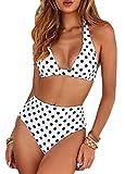 CheChury Vintage Conjunto de Bikinis Cintura Alta Bañador Dos Piezas Estampado Floral Lunares Traje De Baño Mujeres Sexy Vendaje elástico Bañador