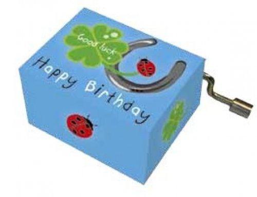Fridolin 58403 Spieluhr Happy Birthday mit Hufeisen, Kleeblatt und Marienkäfer