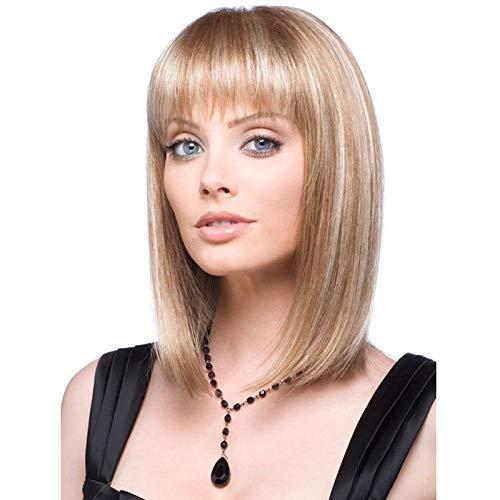 Tête de Bob blond clair avec des cheveux raides courts, 40cm, cheveux artificiels, fibre synthétique haute température, perruque femme pour un usage quotidien