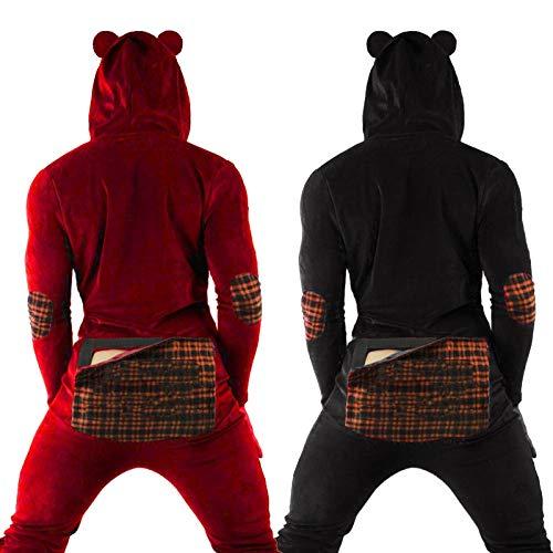 Pijamas Para Hombres, Monos Sexy Para Hombres Pijamas Con Botones Estampados Pijamas Con Capucha Tentación Para Adultos Pijamas De Ropa Interior Sexy Para Hombres De Moda (Negro, L)