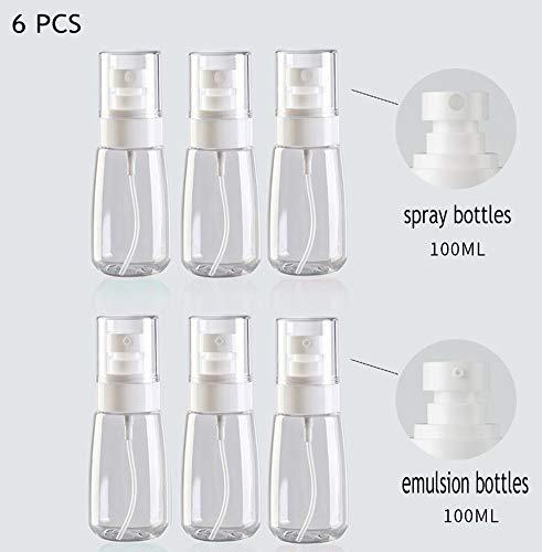 KongEU Reiseflaschen Clear Fine Mist Spray/Creme-Flasche Kunststoff nachfüllbar transparent leer Zerstäuber feiner Reisebehälter auslaufsicher, 6 PCS b