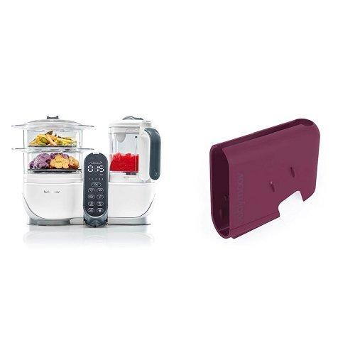 Babymoov Nutribaby+ A001117 - Procesador de alimentos para bebés, cocción al vapor y batidora, color blanco + Babymoov Nutribaby A001123 - Cubierta, color cereza