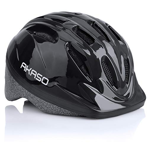 AKASO Kids Helmet, Adjustable Toddler Bike Helmets for Age 2-12 Boys Girls, Protective Helmets for Cycle Scooter Roller Skateboard-K1(Black, 47-52cm)