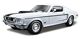 """1968 Ford Mustang GT Cobra Jet FB in White - Special Edition Die-cast metal body with plastic details Approximately: 10""""L x 3.5""""W x 2.75""""H and 1 pound Doors and hood open Steerable front wheels Four wheel suspension Detailed chassis"""