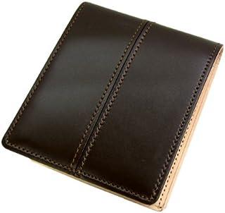 日本製 Maturi マトゥーリ ジャパンコードバンセンターステッチ×日本製ヌメ革 二つ折財布 MR-024 茶