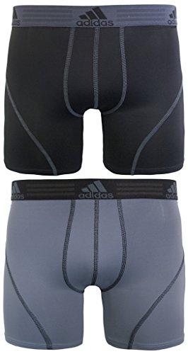 adidas Men's Sport Performance Boxer Briefs Underwear (2 Pack), Black/Thunder Thunder/Black, LARGE