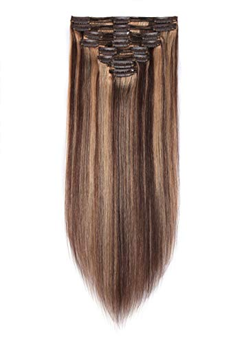 Double Weft Thick Clip in Human Hair Extensions Highlight Medium Brown mixed Dark Blonde 12 Inch 8pcs on 8A Grade Soft Straight 100% Remy Hair (#4-27,12