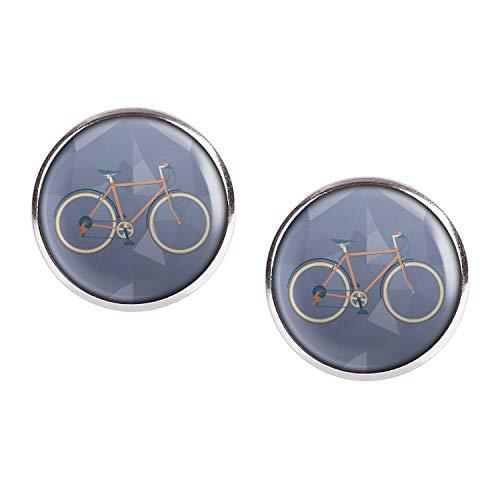 Mylery Ohrstecker Paar mit Motiv Renn-Rad City-Rad Rot silber 16mm