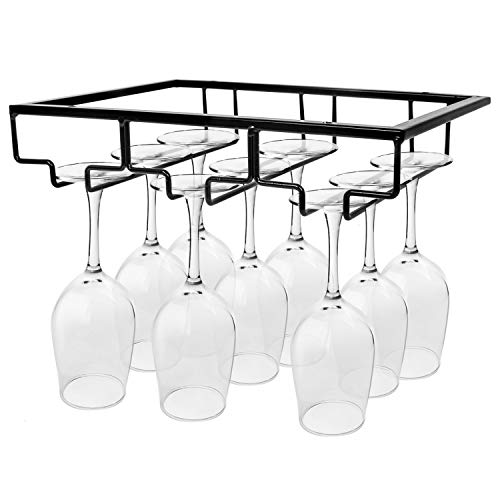 ​Gonioa Wine Glass Holder - Stemware Rack Under Cabinet Metal Wine Glass Holder Glasses Storage Hanger Organizer for Cabinet Kitchen Bar(Black, 3 Rows)