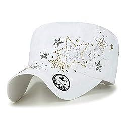 Crystal Gemstone Stud Star White Cotton Cadet Cap