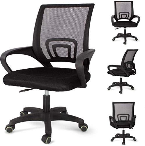HHJJ Silla de oficina con respaldo medio giratorio lumbar para escritorio, silla de ordenador, silla de malla ergonómica con reposabrazos -58602P1E5S