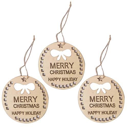 UKtrade Árbol de Navidad colgante decorativo de madera hueco diseño de dibujos animados 3PC colgante decoración de la casa (B)