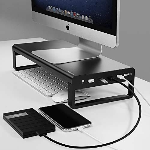 Vaydeer USB 3.0 Hub Monitorständer Aluminium Monitor Stand Riser Unterstützt Datenübertragung und Aufladung, Metall Monitor Ständer Unterstützung bis zu 32 Zoll für PC, Laptop - Schwarz, Klein