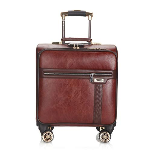 fosa1 Hand Luggage Trolley case PU Leather Men And Women Suitcase, Luggage Lock Box, Soft Luggage Business Trolley Universal Wheel 18 Inch Boarding