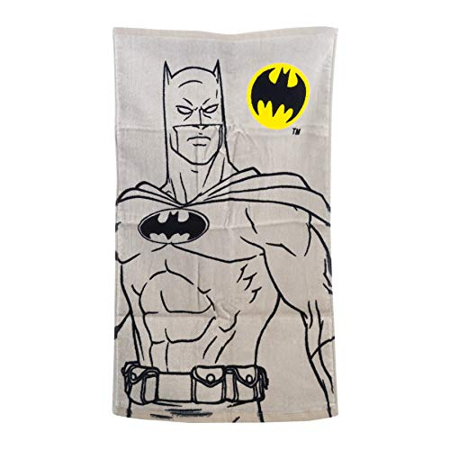 DC Comics Batman Logo Hand Towel For Kids Children Adults Bathroom, 15 inches x 26 inches, Made from 100% Cotton. Grey Color With Yellow and Black Classic Batman Logo.