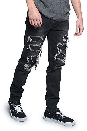 Victorious Men's Distressed Illusion Layered Thigh Hole Jeans DL1189 - Black - 36/34 - V3C