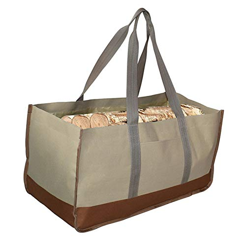 JFJL Heavy Duty 600D Oxford Firewood Canvas Tool Tote Bags Fireplace Wood Log Carrier Holder Indoor for Firewood Rack, 64 * 30 * 33Cm,Brown