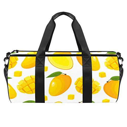 Strandtasche, groß, für Sport, Fitnessstudio, Übernachtung, Mango, Obst, Sommer-Gelb bedruckt, Schultertasche mit trockenem Nassfach