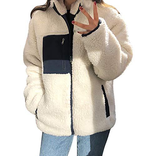 DERENFR Manteaux Femme Vintage,Manteaux Femmes Chaud,Manteau Femme,Femmes Outwear Supporter Collier Patchwork Double Face à Manteau Peluche Veste Pardessus