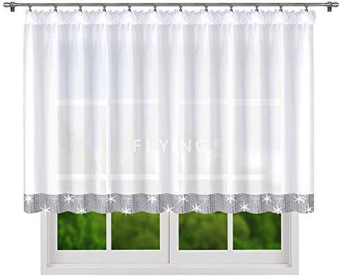 Fertiggardine Fenstergardine Gardine aus Voile mit Gipüre Faltenband Kräuselband Store Lang Modern Weiß 120 x 400 LB-184 (120 x 400 cm)