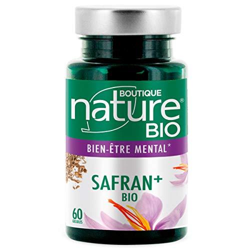Boutique Nature - Complément Alimentaire - Safran+ BIO - 60 Gélules Végétales - Favorise l'état de relaxation et de bien-être moral et physique