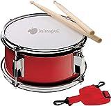 Tambor con libro de ejercicios: correa de transporte y mazo incluidos. Tambor de madera con metal de tamaño infantil para aprender a tocar el tambor.