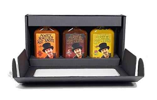 Hot-Sauce Geschenkset / Happy Hatter Hot Sauce / Inhalt 300 ml - 3 Saucen jeweils 100 ml/ Schärfegrad: gemischt / Kleine Manufaktur aus Belgien