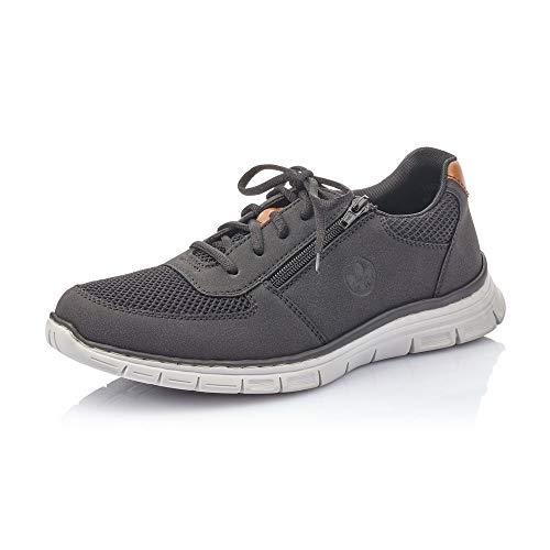 Rieker Herren Schnürhalbschuhe B4831, Männer sportlicher Schnürer, Halbschuh schnürschuh Sneaker Men,schwarz/schwarz/Amaretto / 00,40 EU / 6,5 UK