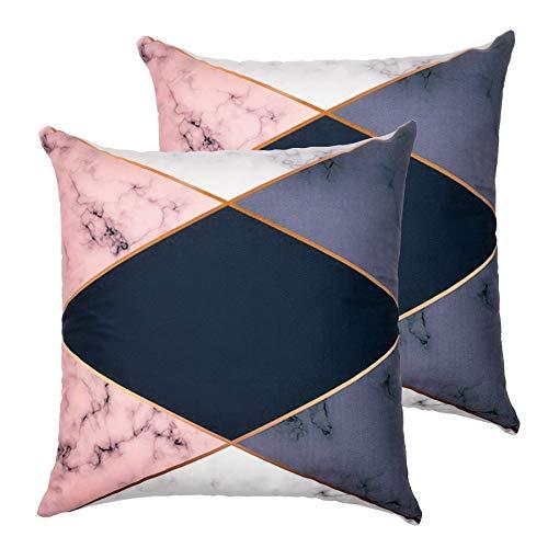 Ruberg Juego 2 Fundas de Cojines de Terciopelo 45x45cm, Funda Almohada Sin Relleno, con Cremallera Oculta, para Coche Salón Dormitorio Oficina Decoración,Triángulo Azul Rosa