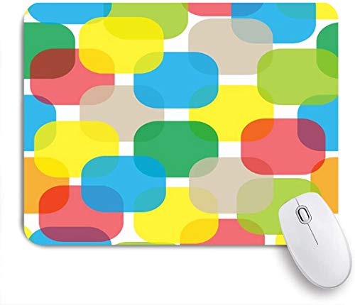 Benutzerdefiniertes Büro Mauspad,Blase Bleistift abstrakte Impressionismus Tinte Quadrat Aquarell Figuren Runde Impression Umriss Comic,Anti-slip Rubber Base Gaming Mouse Pad Mat