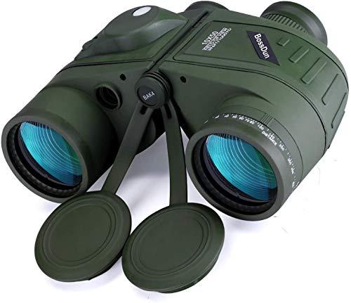 Binoculares Marinos Impermeables de 10x50 con Telémetro Interno y Brújula, para la Caza en Bote y la Aventura en el Mar, Pesca, Deportes, etc, con Estuche y Correa para el Cuello