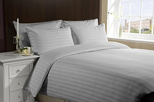 [hachette] 3PC [SATIN STRIPE GREY SILVER/DOUBLE SIZE] 400 THREAD COUNT 100% EGYPTIAN COTTON DUVET COVER BEDDING BED SET WITH PILLOWCASES 400TC