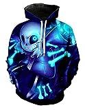 Cosplaybala Tale Sans Cosplay Costume Sweatshirt 3D Printed Skull Hoodie (Blue, M)
