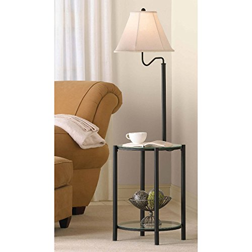 Glass End Table Floor Lamp