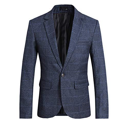 Allthemen Herren Anzugjacke Kariert Sakko Marineblau Medium