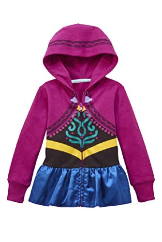 Girls Frozen Character Hoodie- Anna or Elsa (Small (6/6X), Magenta- Anna)