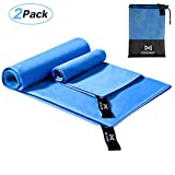 OMORC Microfiber Travel Towel, 2 Pack Sports Towel Set, Fast Drying Towel, Super Absorbent, Ultra Compact, Lightweight for Camping, Hiking, Gym, Beach, Yoga, Includes 2 Sizes + Carrying Bag & Clip
