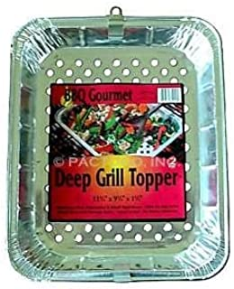 Durable Packaging Durable 13 x 10 x 1.75 Deep Disposable Aluminum Foil Grill Topper Bbq Pan 24/Pk (Pack of 24)