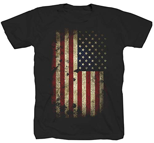 USA Fahne Amerika Flag schwarz T-Shirt (M)