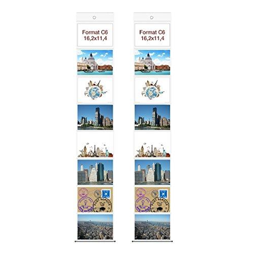 Trendfinding 2 Fototaschen C6 Postkartenformat 11,4 x 16,2 cm für je 8 Fotos Querformat Deko Foto Bilder Karten Halter Fotowand Fotovorhang Fotohalter Kartenhalter